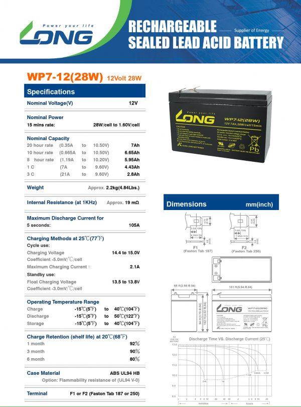 باتری ۱۲ ولت ۷ آمپر لانگ
